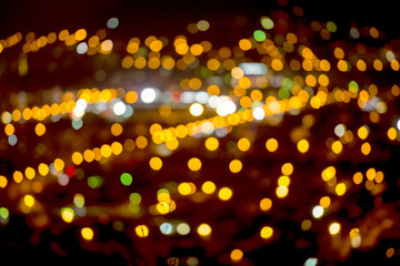 abstract circular natural bokeh background, city lights with hor