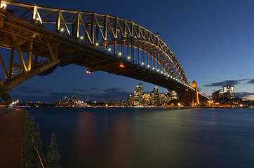 Sydney Harbour Bridge and Sydney Skyline at dusk