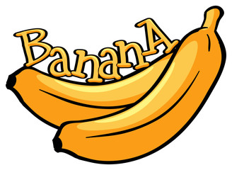 Font design with word banana