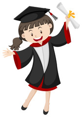 Woman in graduation gown and certificate