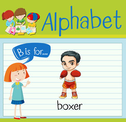 Flashcard alphabet B is for boxer