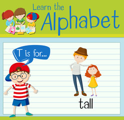 Flashcard alphabet T is for tall