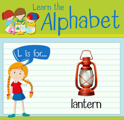 Flashcard alphabet L is for lantern