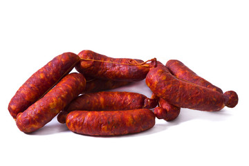 Sausages isolated on white