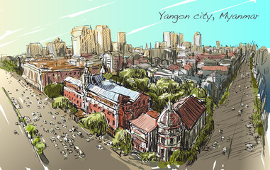 sketch cityscape of Yangon, Myanmar on topview Strand road with