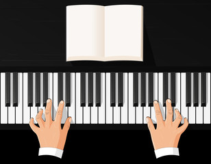 playing the piano, view from above, vector illustration