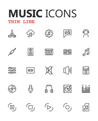 Simple modern set of music and audio thin line icons. Premium symbol collection. Vector illustration. Simple pictogram pack. Editable Stroke. Pixel Perfect.