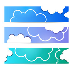 Cloud vector banner set white color on blue background. Sky flat