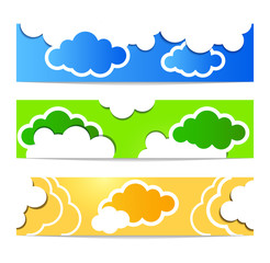CCloud vector banner set white color on blue background.