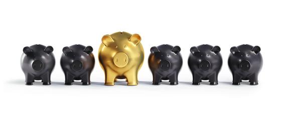 Goldenes Sparschwein in Reihe Schwarzer 2