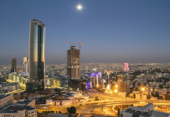 Amman Landscape at night - The new downtown of Amman Abdali area night view