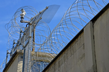 Gefängnis, Stacheldraht, Zaun