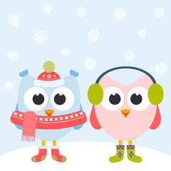 Cute owls and snowflakes