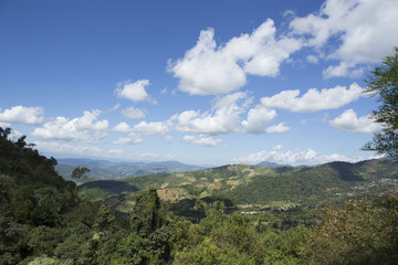 view of mountains and forest in the north of Thailand