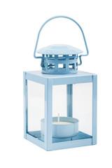 Blue lantern isolated on white