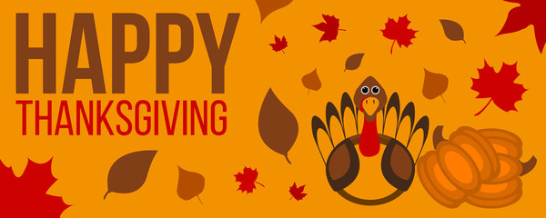 Happy Thanksgiving day label. Thanksgiving banner with leaves and pumpkin. Thanksgiving isolated sign and logo. Vector illustration.
