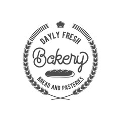 vintage retro bakery logo badge or label