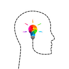 Creative thinking and idea concept with profile line and lightbulb made of colorful paint