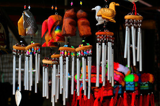 Wind chimes, wood carvings, animal, beautiful, melodic voice wil