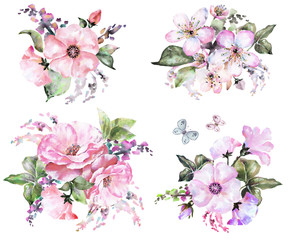 Painted Watercolor Flowers. In pastel color, composition watercolors flower Bouquets. Hand Painted Flower for wedding. greeting card. Branches flower and butterfly, isolated flowers