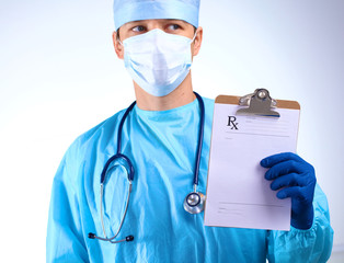 close up of doctor holding blank white banner