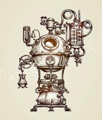 Vintage distillation apparatus sketch. Moonshining vector illustration
