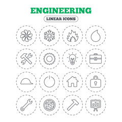 Engineering icons. Ventilation, heat and air conditioning symbols. Water supply, repair service and circuit board thin outline signs. Lamp, house and locker. Round flat buttons with linear icons