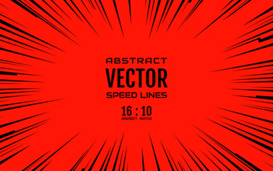 Black comic radial speed lines on red base in 16:10 ratio. Effect power explosion illustration. Comic book design element. Graphic explosion with speed lines in comic book style. Vector Illustration