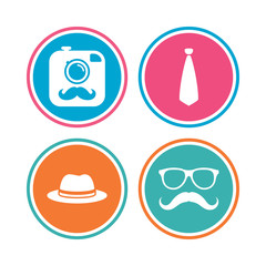 Hipster photo camera with mustache icon. Glasses and tie symbols. Classic hat headdress sign. Colored circle buttons. Vector