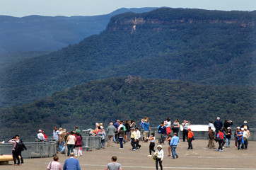 Aerial view of Echo Point Three Sisters lookout in Katoombaa at