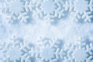Snow Flakes Frame, Blue Snowflakes Decoration Background, Winter