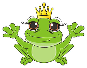 crown, queen, princess, sit, golden, animal, cartoon, toad, frog, toy, amphibian, reptile, croak, ribbit, happy, smiling