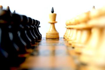 Белый шахматный король с фигурами