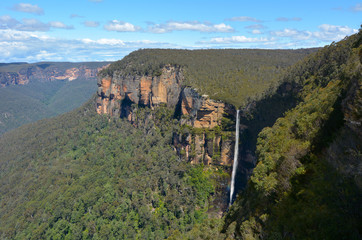 Govetts Leap Falls descending into the Grose Valley located with