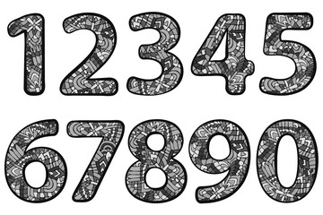 ZENTANGLE NUMBERS DOODLE GREY 1