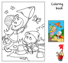Cute cartoon little children play. Coloring book. Vector illustration
