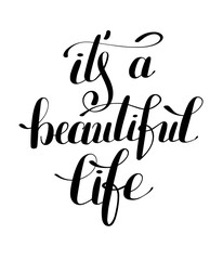 Poster Positive Typography it's a beautiful life positive hand lettering typography poster