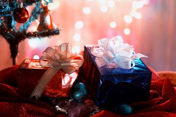 Christmas gift box and color balls