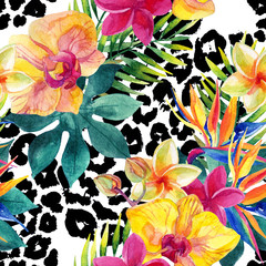 Photo sur Plexiglas Empreintes Graphiques Tropical watercolor flowers and leaves on animal print