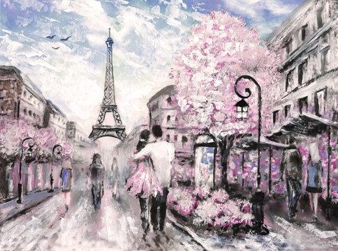 Oil Painting, Street View of Paris. .european city landscape