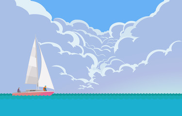 Vacation. Vector illustration of beautiful seascapes with yachts at summer day, with the cumulus clouds in the background. Cartoon style.