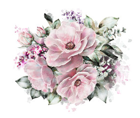 watercolor flowers. floral illustration, flower in Pastel colors, pink rose. branch of flowers isolated on white background. Leaf and buds. Cute composition for wedding or greeting card. Splash paint
