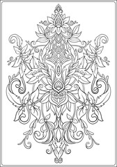 Ornamental floral element for design in vintage style. Vector vi