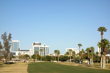 View at Phoenix Downtown from Encanto Park green golf course lawns, Arizona; Copy space in clear blue sky