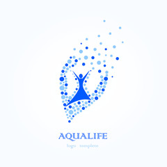 Aqua Life, Water Logo, Healthy Lifestyle Logo, Water is Health of Bubbles.