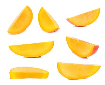 Ripe mango isolated on the white background