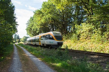 Bahn in Lage am Waldrand