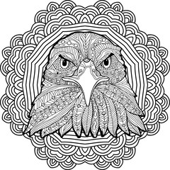 Coloring page for adults. Stern eagle on a background of a circular mandala pattern.