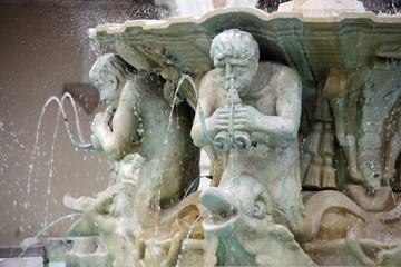 Poster Fontaine La fontaine à tritons à Pesaro, Italie