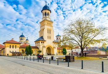 Wall Mural - The Coronation Orthodox Cathedral  and Roman Catholic cathedral in Fortress Of Alba Iulia, Transylvania, Romania.
